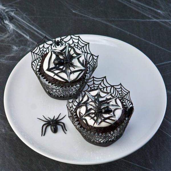 Halloween Party Rezepte Grusel Muffins backen spinnen kucken deko