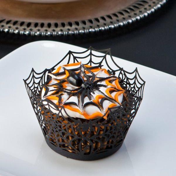 Halloween Party Rezepte Grusel Muffins spinnen cupcakes rezept