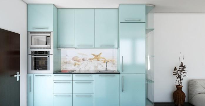 Küchenrückwände aus Glas hell blau