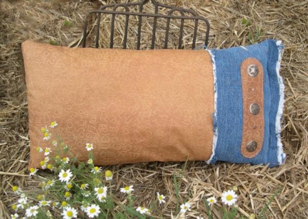 Kissenhüllen aus Jeans kissenbezüge braun stoff