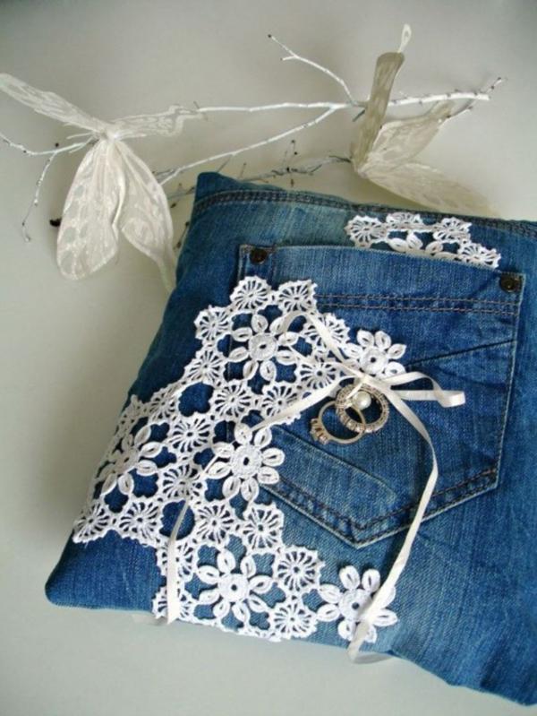 Украсить джинсовую куртку с кружевом