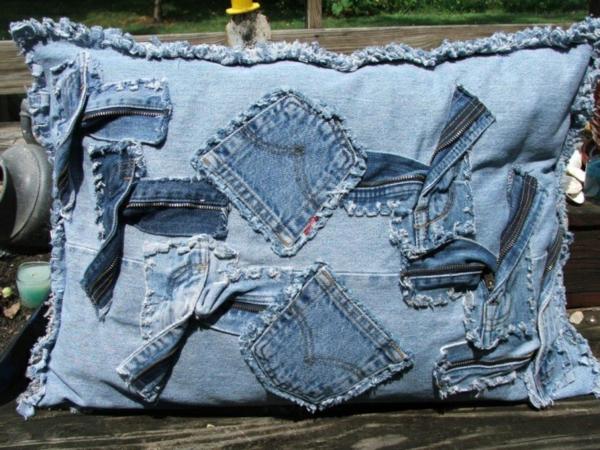 Kissenhüllen aus Jeans kissenbezüge klamotten reste