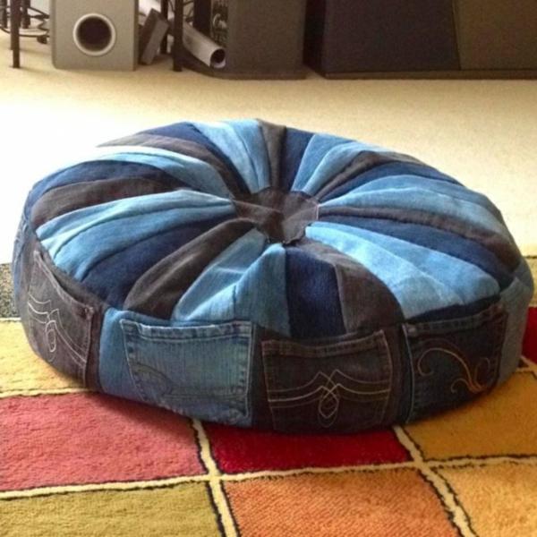 Kissenhüllen aus Jeans kissenbezüge klamotten rund sitzen
