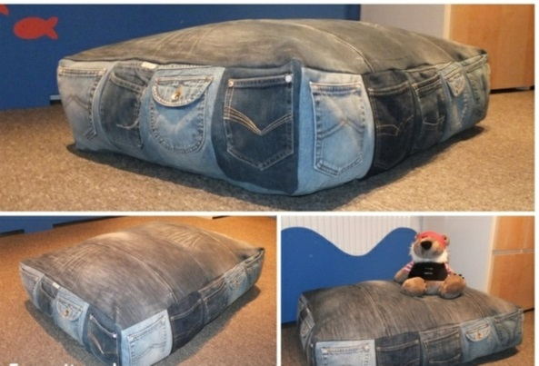Kissenhüllen Jeans kissenbezüge klamotten sitzsack