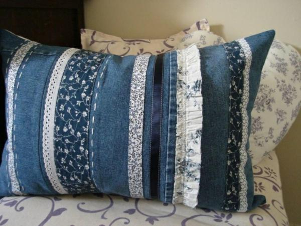 50 kissenhüllen aus jeans -diy kissenbezüge aus recycelten materialien, Design ideen