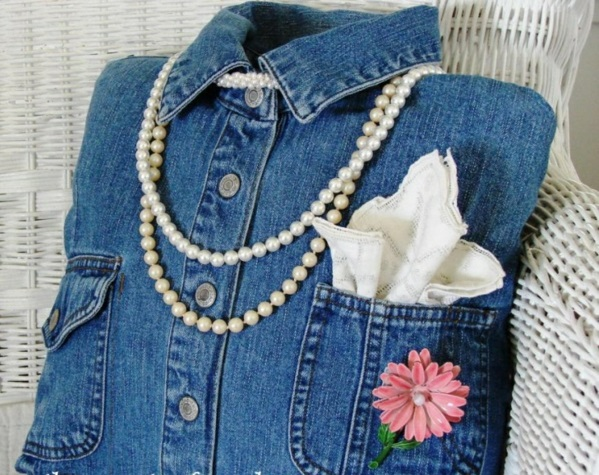 kunstblumen stoff Jeans kissenbezüge perlen