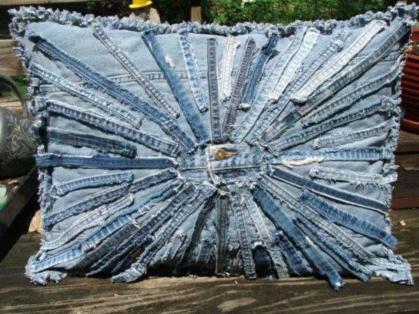 Kissenhüllen sonne blau Jeans kissenbezüge reste
