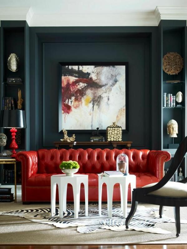Moderne Wohnzimmermöbel  rot leder sofa
