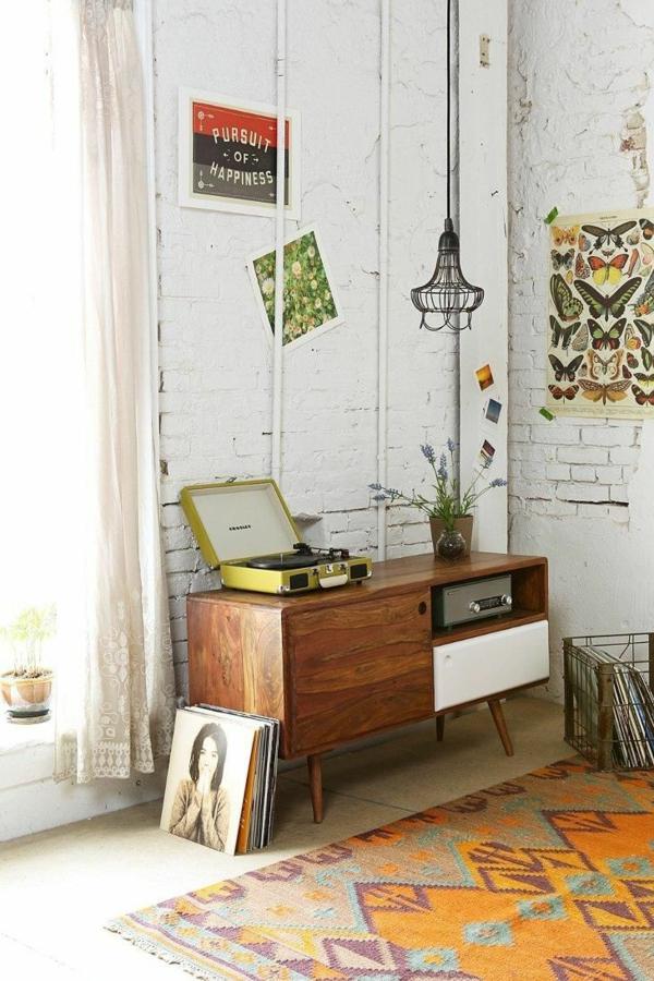 Wohnzimmermöbel  ziegel wand weiß bemalt industriell stil