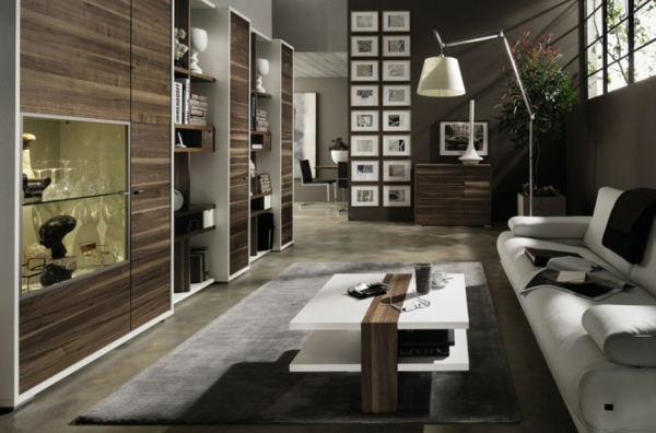 Moderne Wohnzimmermöbel  braun grau farbtöne