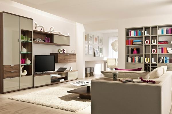 Moderne beige farbpalette Wohnzimmermöbel bücher regale