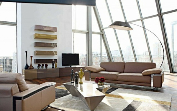 regale wand Wohnzimmermöbel braun polsterung