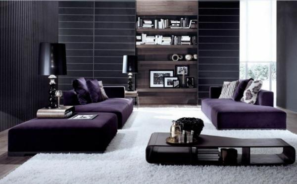 dunkellila luxus Wohnzimmermöbel dunkel wandfarben