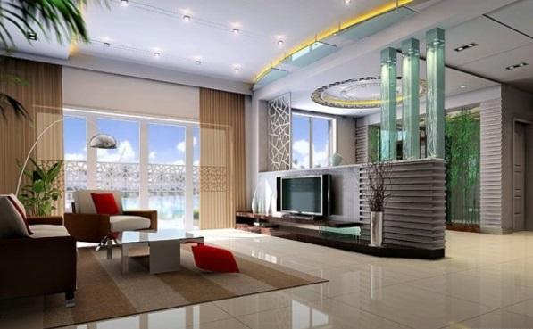 Moderne beige gardinen Wohnzimmer möbel glanz oberflächen