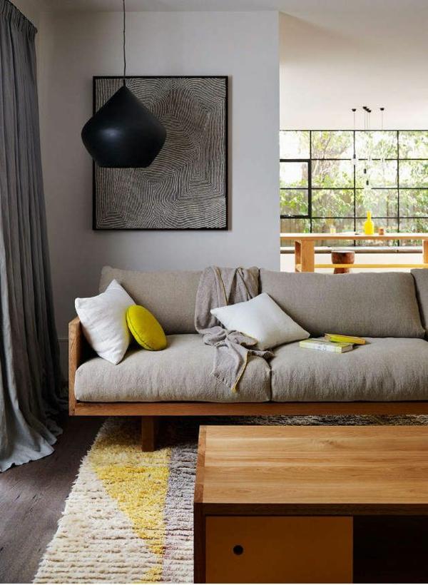 Wohnzimmermöbel hängelampe holztisch