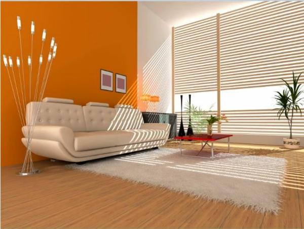 cool Wohnzimmermöbel orange wand