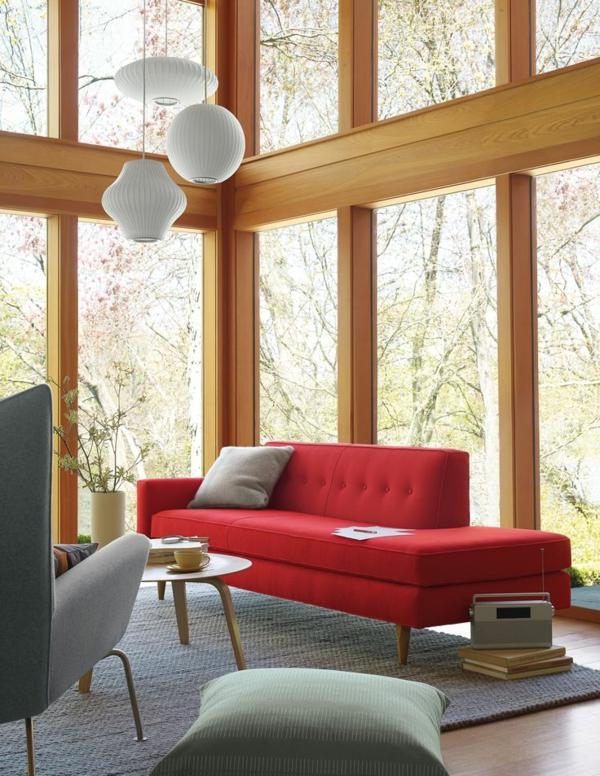Moderne holz rahmen fenster Wohnzimmermöbel rot sofa