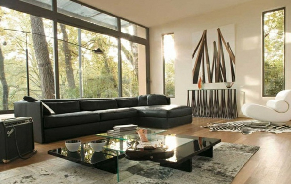 Moderne wald natur Wohnzimmermöbel schwarz sofa leder