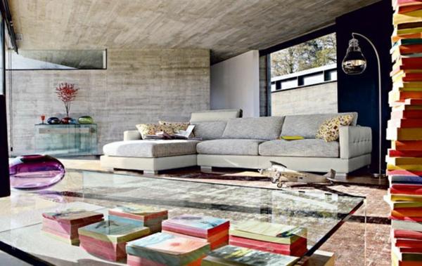 Moderne tischplatte transparent  Wohnzimmermöbel sofa grau