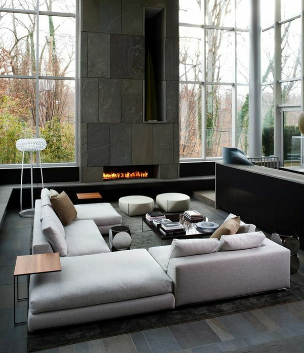 feuerstelle stein platten Wohnzimmermöbel wohnlandschaft fenster