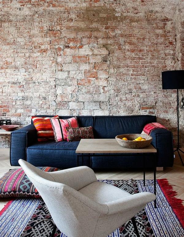 sofa kissen Wohnzimmermöbel ziegel wand