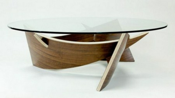 Holz Glas Schick Ovale Couchtische Basis