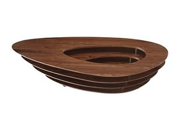 Ovale abstrakt Couchtische holz glas schick wohnzimmer effektvoll