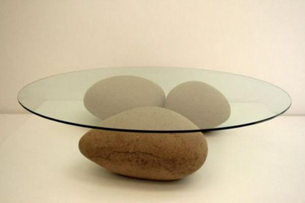 Stabil Couchtische Holz Glas Schick Wohnzimmer Steine