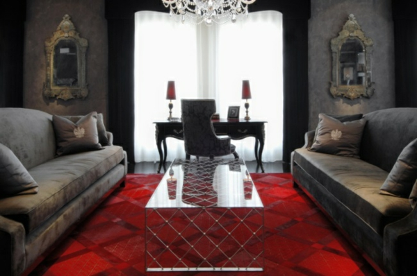 Rote Teppiche wohnzimmer fenster