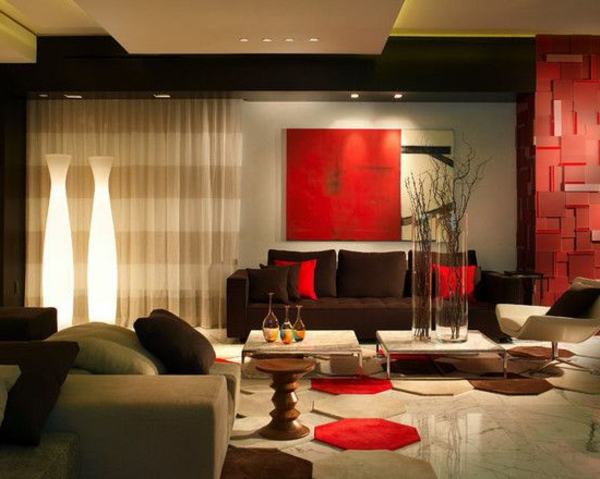 Schiebevorhang streifen wohnzimmer glas türen rot