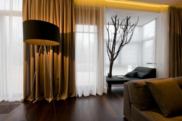 gardinen Braun wohnzimmer glas türen schick
