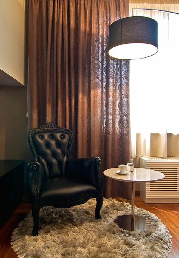 gardinen Braun wohnzimmer glas türen stehlampe