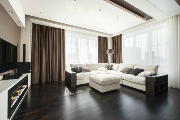 Schiebevorhang in Braun wohnzimmer glas türen weiß