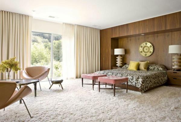 Schiebevorhang Braun wohnzimmer glas teppich