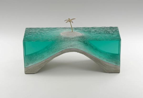 Skulpturen Glas meer ozean einsam palme