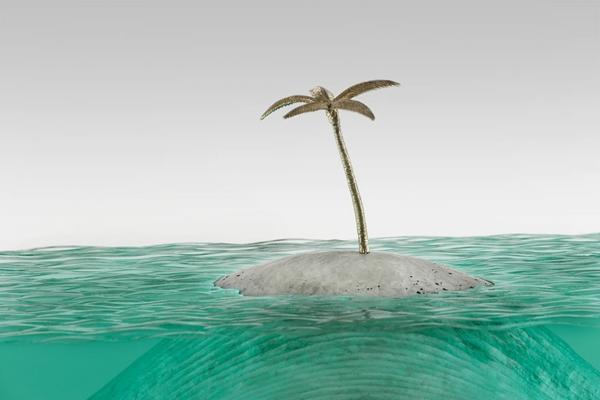 Skulpturen aus Glas meer ozean palmbaum