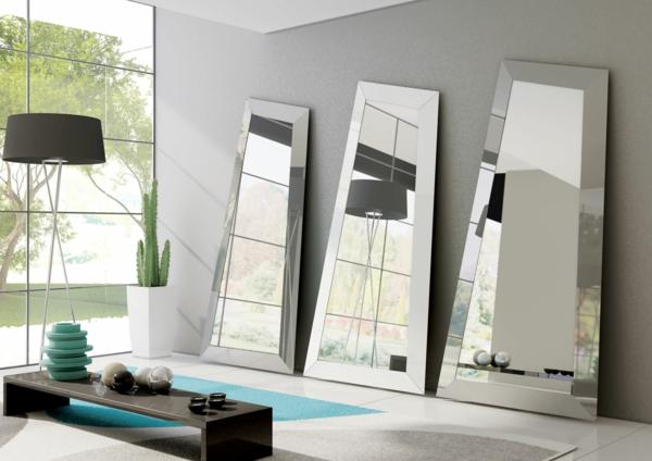 Spiegelwand kaufen kunstvoll stücke stehlampe schwarz lampenschirm