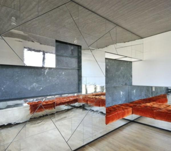 Spiegelwand apartment kaufen sofas rot