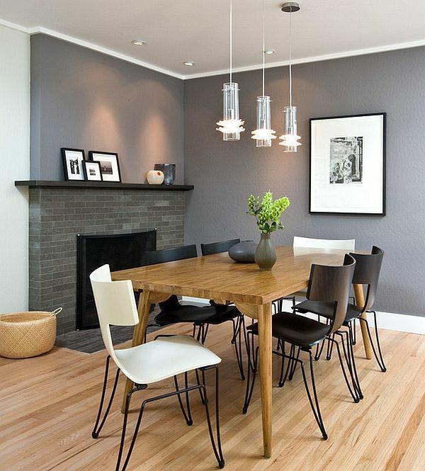 Stühle farben Esstisch holz modern grau wand