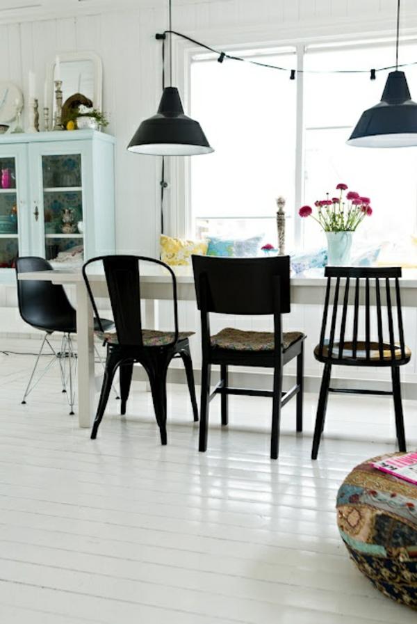 Stühle für Esstisch holz modern hängend stahl lampen