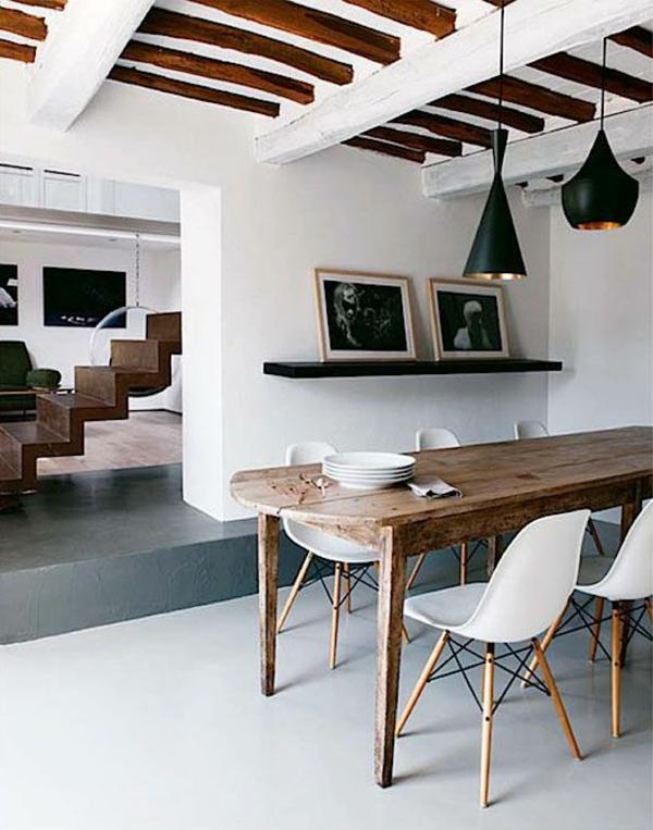 Stühle rustikal effekt Esstisch holz modern holz balken