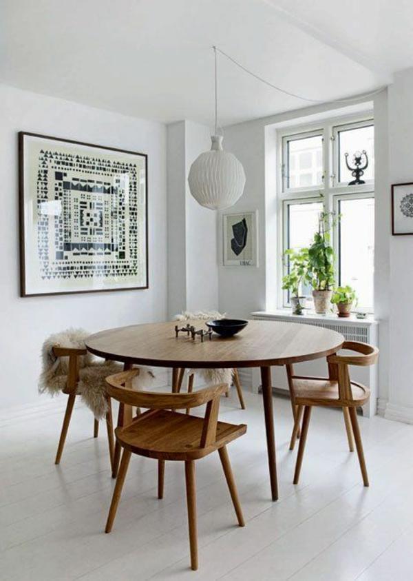 Stühle rund hängelampe Esstisch holz modern