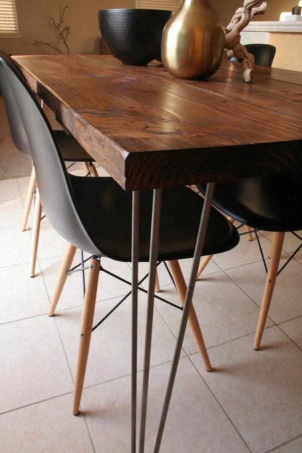 Stühle glanzvoll oberfläche Esstisch holz modern schwarz braun