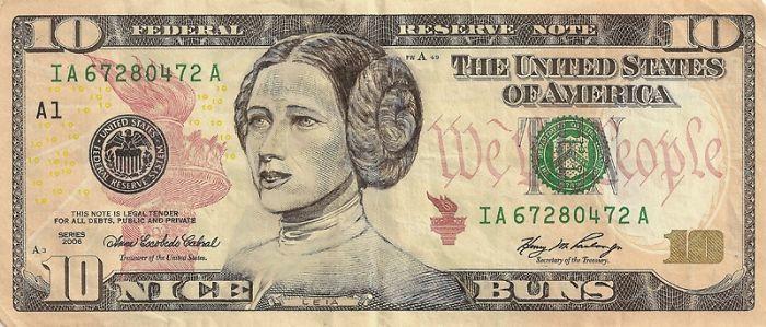 Us Dollar Banknoten prinzess leia gesicht