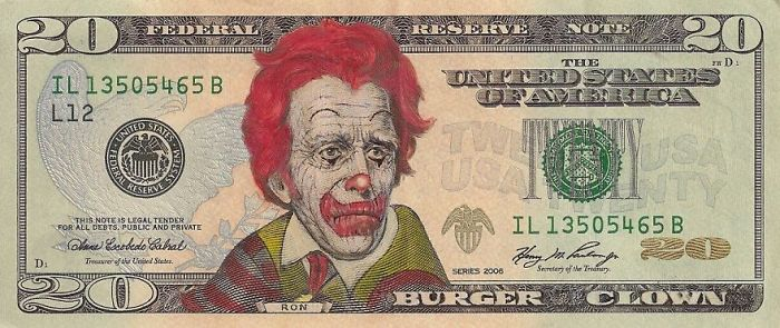 Us Dollar Banknoten us euro in dollar umrechnen clown gesicht