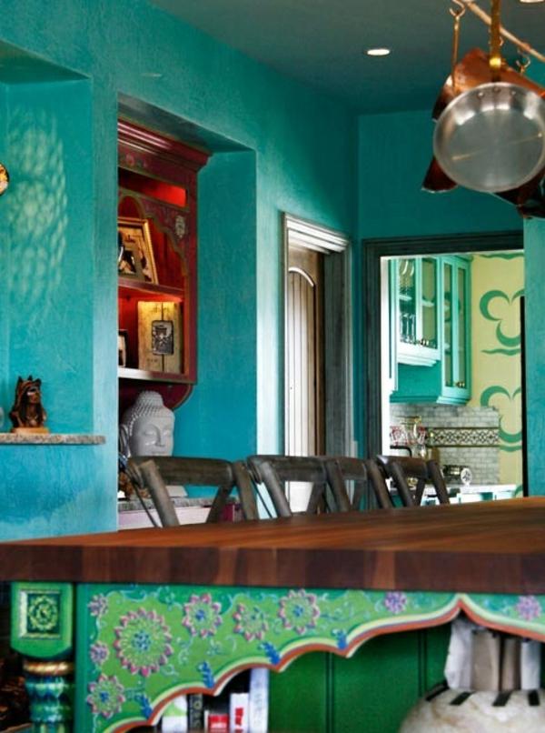 Wandfarbe In Türkis Wandgestaltung Klassisch Orientalisch