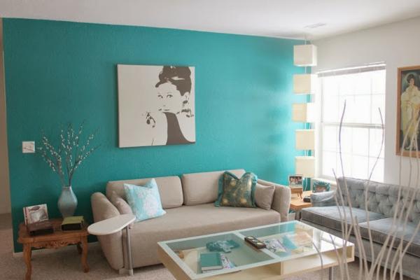 wohnzimmer hell lila:Wandfarbe schwarz weiß gemälde Türkis wandgestaltung pop art retro