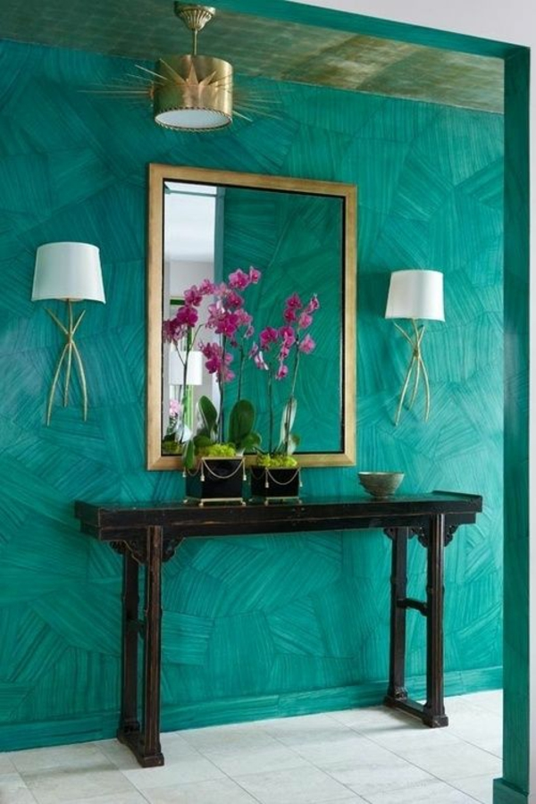 Wandfarbe in Türkis wandgestaltung schminktisch