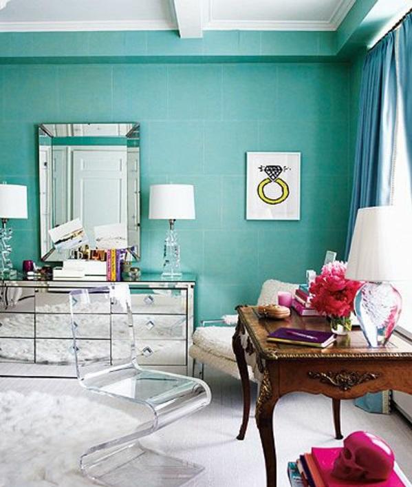 türkis wohnzimmer:Wandfarbe in Türkis wandgestaltung wohnzimmer feminin
