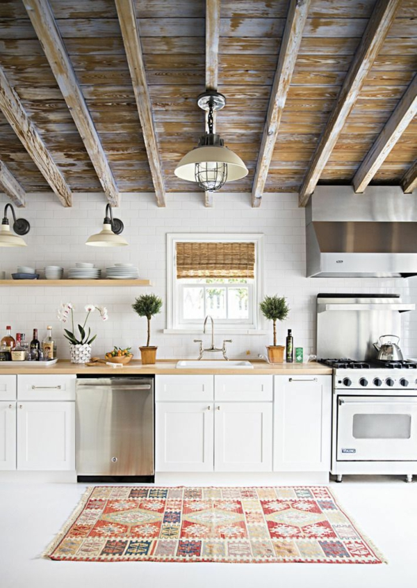rustikal look Küchenteppiche und Läufer holzbalken